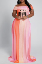 Orange Big Yards Women Contrast Color Stripe Letter Printing A Word Shoulder Collcet Waist Long Dress YFS3707-1