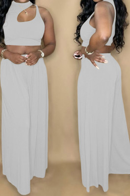 White Summer Sleeleless O Collar Hollow Out Crop Top Wide Leg Pants Solid Color Two-Piece PQ8056-3
