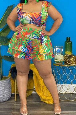 Multicolor Women Sexy Bodycon Tank Condole Belt Printing Plus Skirt Sets K2159