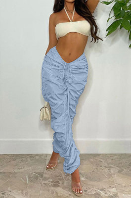 Sky Blue Women Pure Color Ruffle Drawsting Sport Casual Long Pants AYA7027-3