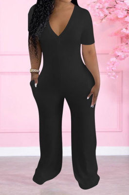 Black Women Pure Color Deep V Neck Short Sleeve Fashion Wide Leg Jumpsuits ED8517-3