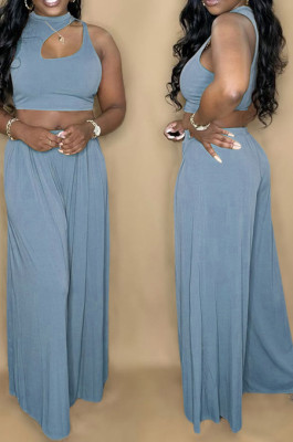 Blue Summer Sleeleless O Collar Hollow Out Crop Top Wide Leg Pants Solid Color Two-Piece PQ8056-4
