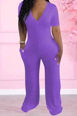 Purple Women Pure Color Deep V Neck Short Sleeve Fashion Wide Leg Jumpsuits ED8517-4