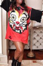 Red Fashion Patterns Print Hole Short Sleeve Loose T-Shirt Dress YG10869-1