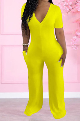 Yellow Women Pure Color Deep V Neck Short Sleeve Fashion Wide Leg Jumpsuits ED8517-2