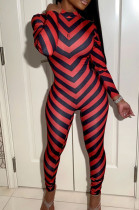 Red Fashion Positioning Stripe Printing Long Sleeve Round Neck Slim Fitting Bodycon Jumpsuits YG1061-1