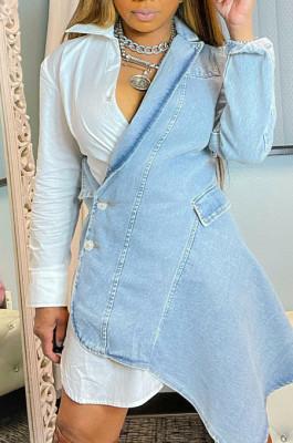 White Fashion Jean Spliced Long Sleeve Lapel Neck Button Shirt Dress WY6840