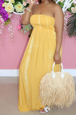 Yellow Summer New Cotton Blend Printing Loose Backless Long Dress P8723-1