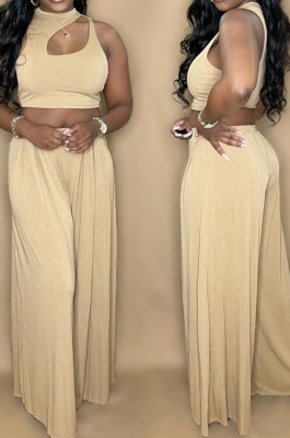 Khaki Summer Sleeleless O Collar Hollow Out Crop Top Wide Leg Pants Solid Color Two-Piece PQ8056-1