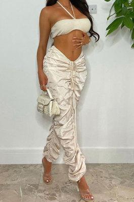 Apricot White Women Pure Color Ruffle Drawsting Sport Casual Long Pants AYA7027-1