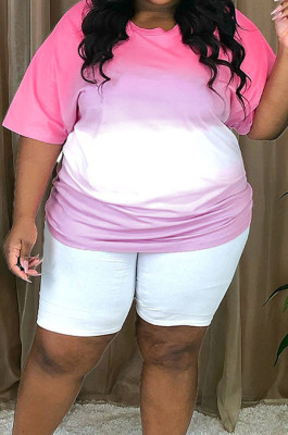 Rose Red Big Yards Gradient Short Sleeve Round Neck T-Shirts Shorts Casual Two-Piece P8719-1