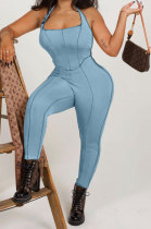Light Blue Euramerican Women Solid Color Condole Belt Bandage Bodycon Jumpsuits QMQ7062-2