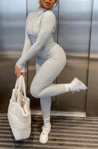 Solid Color Rib Long Sleeve Jumpsuit MQX23587
