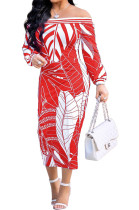 Red Fashion Printing Long Sleeve A Wrod Shoulder Collcet Waist Long Dress A8241-3