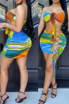 Orange Sexy Positioning Printing Strapless Bandage Hollow Out Hip Mini Skirts Sets HG132-1