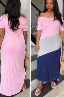 Pink Summer Spliced Short Sleeve Round Neck T-Shirts Slim Fitting Long Dress HXY8025-1