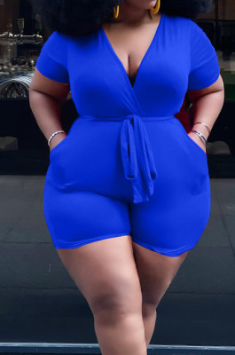 Blue Big Yards Fashion Pure Color Short Sleeve Deep V Collar With Waistband Slim Fitting Jumpsuits YFS10006-4