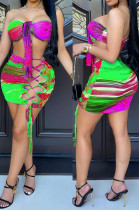 Purple Sexy Positioning Printing Strapless Bandage Hollow Out Hip Mini Skirts Sets HG132-4