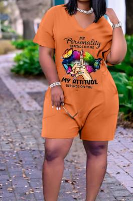 Orange Casual Lips Printing Short Sleeve V Neck With Pocket Loose Romper Shorts CYY00021-2