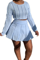 Ling Blue Cotton Blend Long Sleeve Round Collar Top High Waist Mini Skirts Solid Color Two-Piece HG135-2