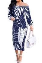 Navy Blue Fashion Printing Long Sleeve A Wrod Shoulder Collcet Waist Long Dress A8241-4