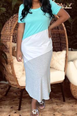 Cyan Summer Spliced Short Sleeve Round Neck T-Shirts Slim Fitting Long Dress HXY8025-2