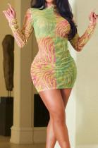 Yellow Contrast Color Printing Long Sleeve Round Collar Bodycon Mini Dress HXY8023