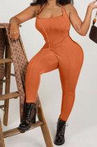 Orange Euramerican Women Solid Color Condole Belt Bandage Bodycon Jumpsuits QMQ7062-3