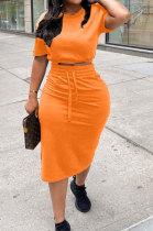 Orange Women Pure Color Short Sleeve Round Neck Bandage Split Skirts Sets QMQ7061-2