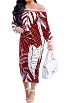 Wine Red Fashion Printing Long Sleeve A Wrod Shoulder Collcet Waist Long Dress A8241-1