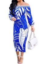 Blue Fashion Printing Long Sleeve A Wrod Shoulder Collcet Waist Long Dress A8241-5