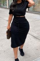 Black Women Pure Color Short Sleeve Round Neck Bandage Split Skirts Sets QMQ7061-1