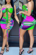 Green Sexy Positioning Printing Strapless Bandage Hollow Out Hip Mini Skirts Sets HG132-3