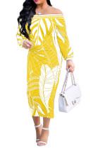 Yellow Fashion Printing Long Sleeve A Wrod Shoulder Collcet Waist Long Dress A8241-2