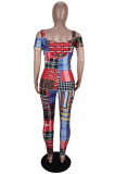 Red Cute Plaid Print Off Shoulder Strapless Bodycom Suspender Trousers Two-Piece YG10819