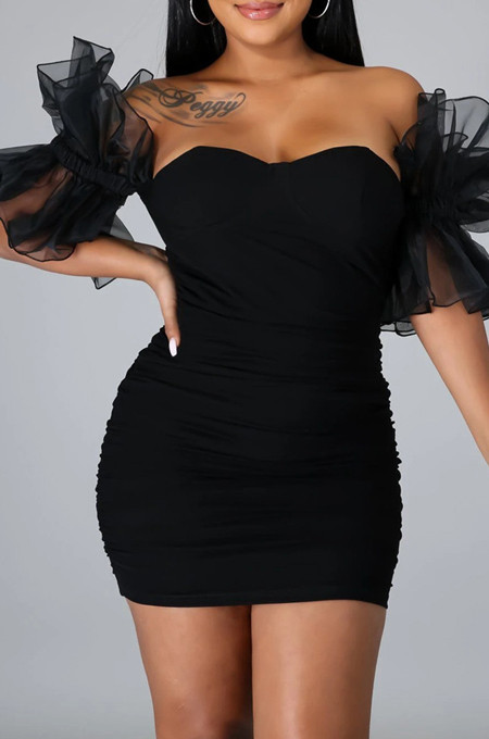 Black New Sexy Mesh Puff Sleeve Solid Color Slim Fitting Strapless Hip Dress SNM8234-2