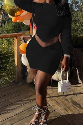 Black Personality Pure Color Long Sleeve Round Neck Top Tight Mini Skirts Sets SNM8235-6