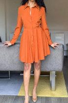 Orange Euramerican Women Long Sleeve Solid Color Bodycon T Shirt/Shirt Dress AL177-2