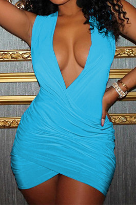 Blue Sexy Sleeveless Low-Cut Ruffle Slim Fitting Solid Color Hip Dress P8617-4