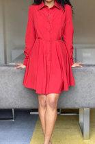 Red Euramerican Women Long Sleeve Solid Color Bodycon T Shirt/Shirt Dress AL177-1