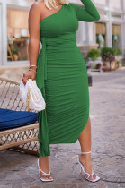 Green Autumn And Winter One Shoulder Long Sleeve Ruffle Laces Sexy Long Dress QY5082-2