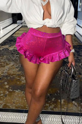 Rose Red High Waist Female Ruffle Laser Glass Floral Shiny Mini Shorts HR8188-3
