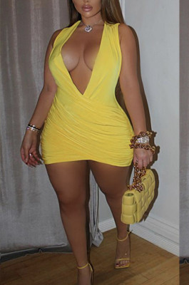 Yellow Sexy Sleeveless Low-Cut Ruffle Slim Fitting Solid Color Hip Dress P8617-3