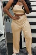 Apricot Wholesal Women Pure Color Strapless High Waist Wide Leg Pants Casual Sets SNM8236-7