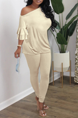 Beige Summer New Flare Half Sleeve Loose Top Bodycon Pants Solid Color Casual Sets HXY8056-2
