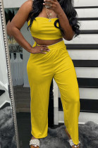 Yellow Wholesal Women Pure Color Strapless High Waist Wide Leg Pants Casual Sets SNM8236-3