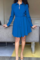 Blue Euramerican Women Long Sleeve Solid Color Bodycon T Shirt/Shirt Dress AL177-4