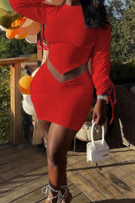 Red Personality Pure Color Long Sleeve Round Neck Top Tight Mini Skirts Sets SNM8235-3