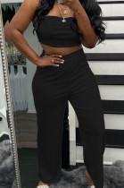Black Wholesal Women Pure Color Strapless High Waist Wide Leg Pants Casual Sets SNM8236-1