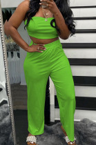 Neon Green Wholesal Women Pure Color Strapless High Waist Wide Leg Pants Casual Sets SNM8236-9